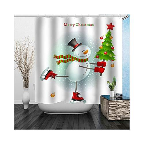 ANAZOZ Cortina de Baño Muñeco de Nieve Árbol de Navidad Cortinas Baño Poliéster Cortinas Ducha Impermeables Cortina de...