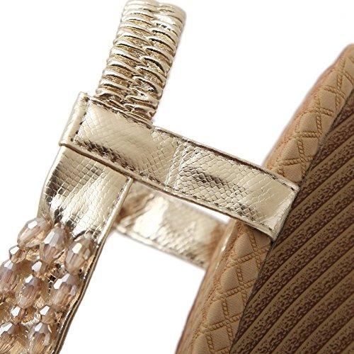 AllhqFashion Mujeres Sólido Cuero Plataforma Puntera Dividida Sin cordones Sandalia Gold