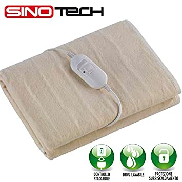 Sinotech - Mantas térmica individual modelo GD26220 calienta colchón, calientacamas, manta eléctrica individual 1 plaza, Potencia 60 W – Completamente ...