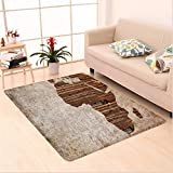 Nalahome Custom carpet n Decor Geography Theme Grunge Vintage Wooden Plank Africa Map Digital Print Tan Umber and Brown area rugs for Living Dining Room Bedroom Hallway Office Carpet (6.5' X 10')