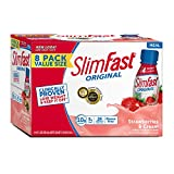 SlimFast – Original Ready to Drink Shake – Meal Replacement Shake – 10g of Protein – 24 Vitamins and Minerals Per Serving – Great Taste – Strawberries and Cream Flavor – 8 Pack