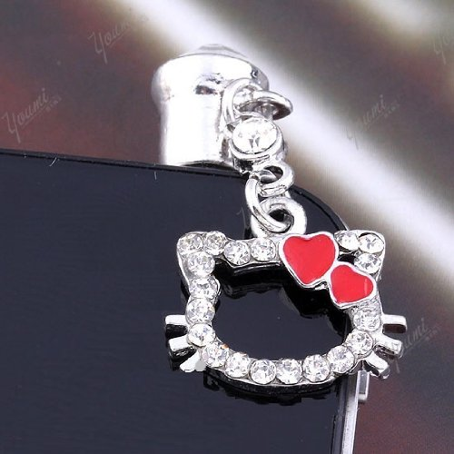 CJB Dust Plug / Earphone Jack Accessory Lovely Kitty Shape Rhinestone for iPhone 4 4s S4 5 All Device with 3.5mm Jack (US Seller) (Red)