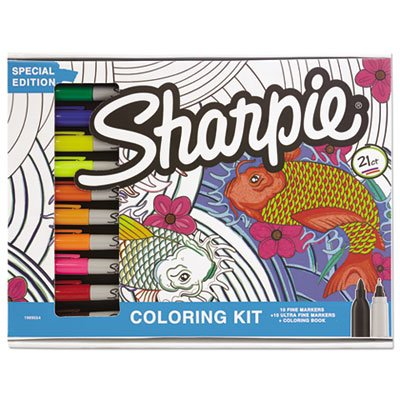 Adult Coloring Kit, Aquatic Theme Coloring Book with 20 Markers Sanford Brands