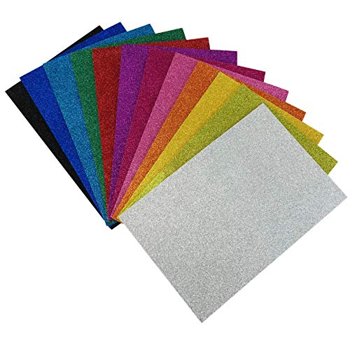 Allgala 12 Pack Glitter EVA Foam Paper 8 x 12 Sheets - Assorted Colors - Perfect for Kids Art Projects and Classrooms or Cosplay