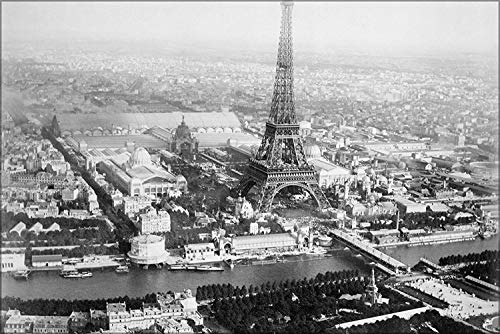 FemiaD 18x24 Poster- Wall Art Aerial View of Paris, France, from Balloon, Showing The Eiffel Tower at Right Center -