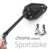 KiWAV Magazi Viper II motorcycle mirrors black fairing mount w/ chrome adapter for sports bike adjustable e