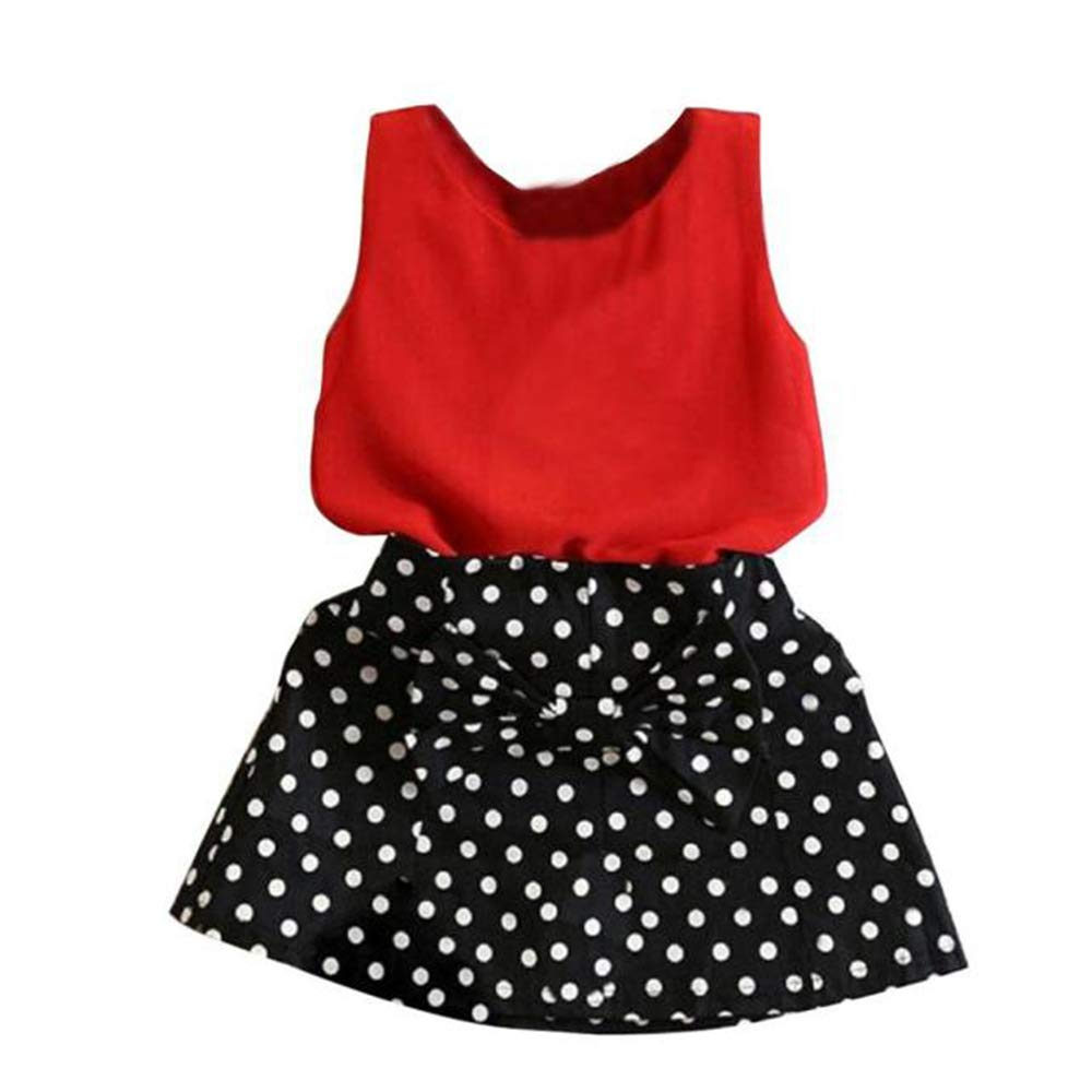 2019 New! Baby Girls Party Outfits,Children Kids Chiffon Solid Sleeveless Vest Pleated Skirt Two Pieces Set Clothes Red