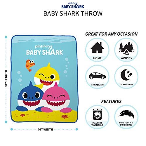"51hqZW9Pr%2BL - Franco Kids Bedding Super Soft Plush Throw, 46"" x 60"", Baby Shark"