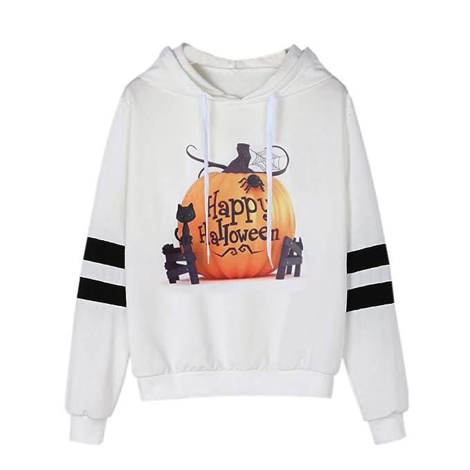 Camisetas de Halloween, BaZhaHei, Camisas para Mujer con Capucha Ocasional de la Manga Larga