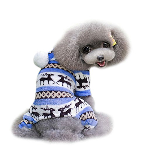 Start Dog Pet Cotton Warm Jumpsuit Puppy Printed T-Shirt Dogs Supplies Costumes (S, Blue) (Fancy Dress Cave Girl)