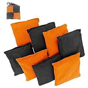 Weather Resistant Cornhole Bean Bags Set of 8 (Orange & Black)