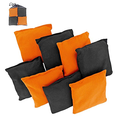 Weather Resistant Cornhole Bean Bags Set of 8 (Orange & Black) Classic Beach Stripe Shirt