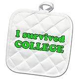 3dRose Student Humor - I Survived College Lime Green - 8x8 Potholder (phl_274509_1)