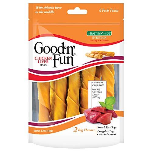 Good 'N' Fun Rawhide Twists, Chicken Liver Recipe, 6-Count