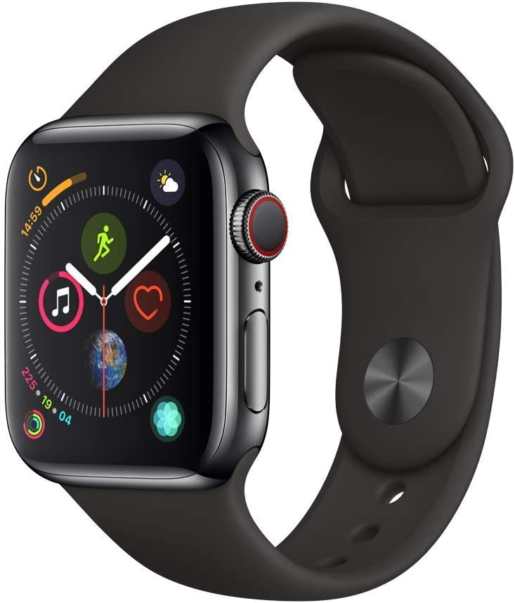 Apple Watch Series 4 (GPS + Cellular, 40MM) - Stainless Steel Case with Black Sport Band (Renewed)