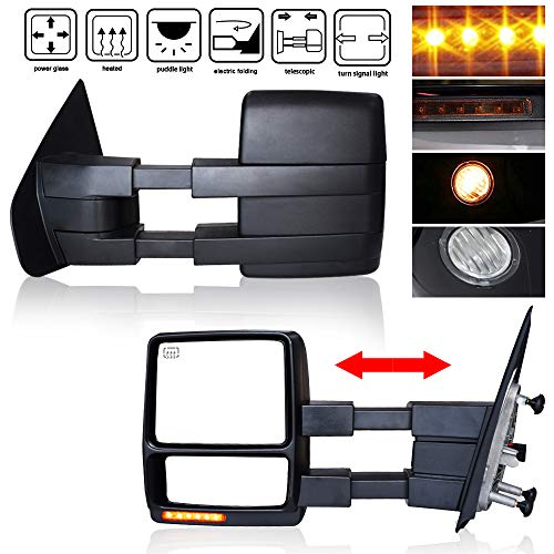 Mirror Electric Folding - 4XBEAM Towing Mirrors for 2007-2014 Ford F150 Tow Manual Folding Power Heated Amber LED Front Turn Signal Clearance Pidd;e Light Electrical Adjusting Side Mirrors