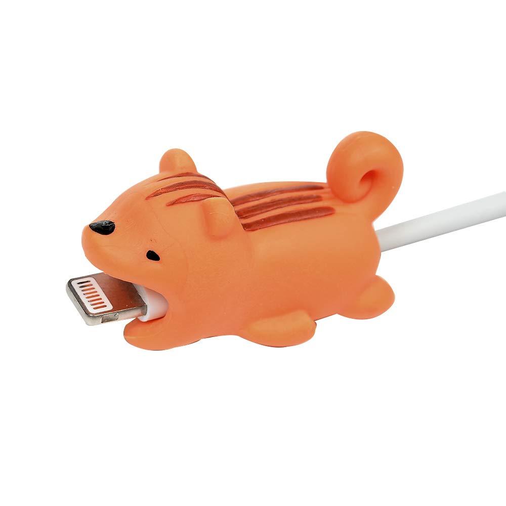 Cable Bite Tier Kabel Zubehör Silikon Datenkabel Protector Kabelbeißer Ladekabel USB Aufladekabel Datenkabel Schützt Kabelschutz für iPhone iPad Samsung A6 Huawei P20 Mate20 Lite Kleiner gelber Hund Mlorras MM/S60LL/63