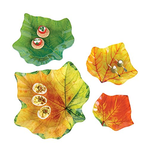 - Autumn Leaf Plates Glass Serving Dishes - Set of 4