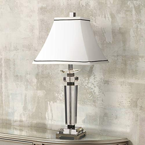 Modern Table Lamp Crystal Column Flared Bell White Shade for Living Room Family Bedroom Bedside Nightstand - Vienna Full Spectrum