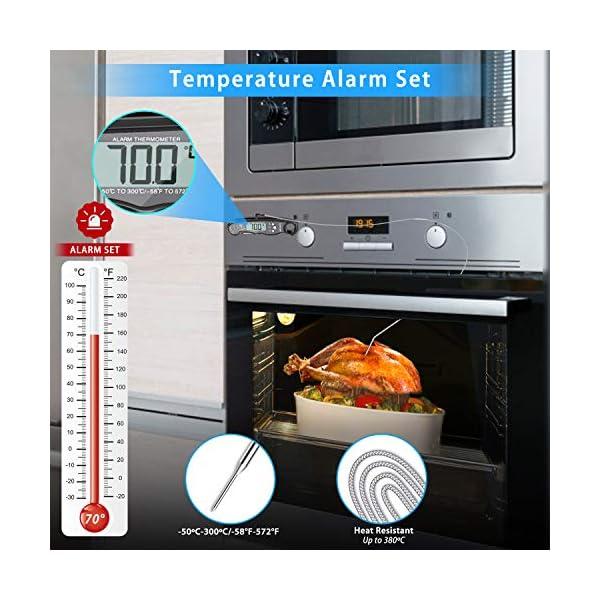NIXIUKOL Termometro Cucina Digitale Lettura Istantanea Termometro Barbecue con 2 Acciaio Inossidabile Sonda, Display LCD… 4
