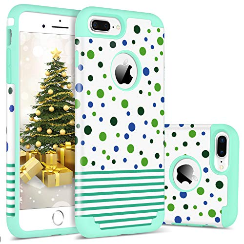 iPhone 8 Plus Case, iPhone 7 Plus Case, BENTOBEN Slim Wave Point Design 2 in1 Soft Silicone Bumper Hybrid Air Shockproof Protective Phone Case Cover for Apple iPhone 7Plus/8 Plus(5.5 inch), Mint Green