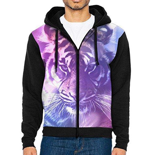 WANING MOON Men's Beautiful Purple Sunset White Tiger Baseball Sweater Hit Color Raglan -
