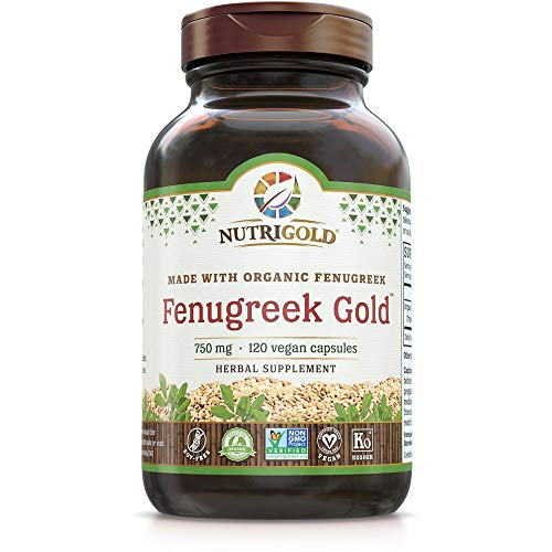 Organic Fenugreek Gold – 750 mg, 120 Organic Veggie Capsules (GMO-Free, Preservative-Free, Allergen-Free Organic Fenugreek Seed Powder in Organic Capsules for Breastfeeding)