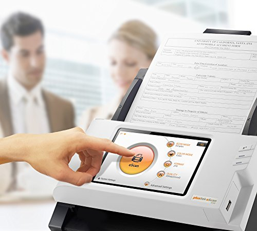 Plustek eScan A150 Wireless Network Document Scanner 【Come with Self-ink Scanned Stamp Bundle】- Stand Alone 7″ touchscreen — 50 sheet auto document feeder (ADF) — Support TWAIN / PC and Mac