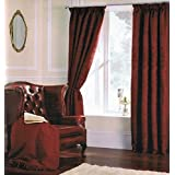 RED WINE FLORAL DAMASK JACQUARD TAILOR MADE TAPE TOP CURTAINS 66X90 INCHES by DND