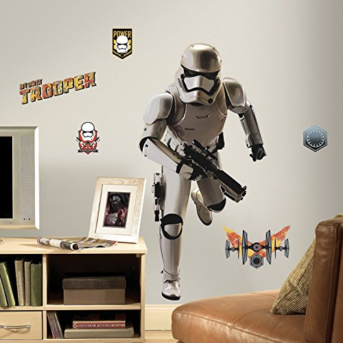 MN Kids White Yellow Black Stormtrooper Wall Decals, Star Wars Themed Wall Stickers Peel Stick, Fun Costume Storm Trooper Tie Fighter Blaster Decorative Graphic Mural Art, (Blaster Graphic)