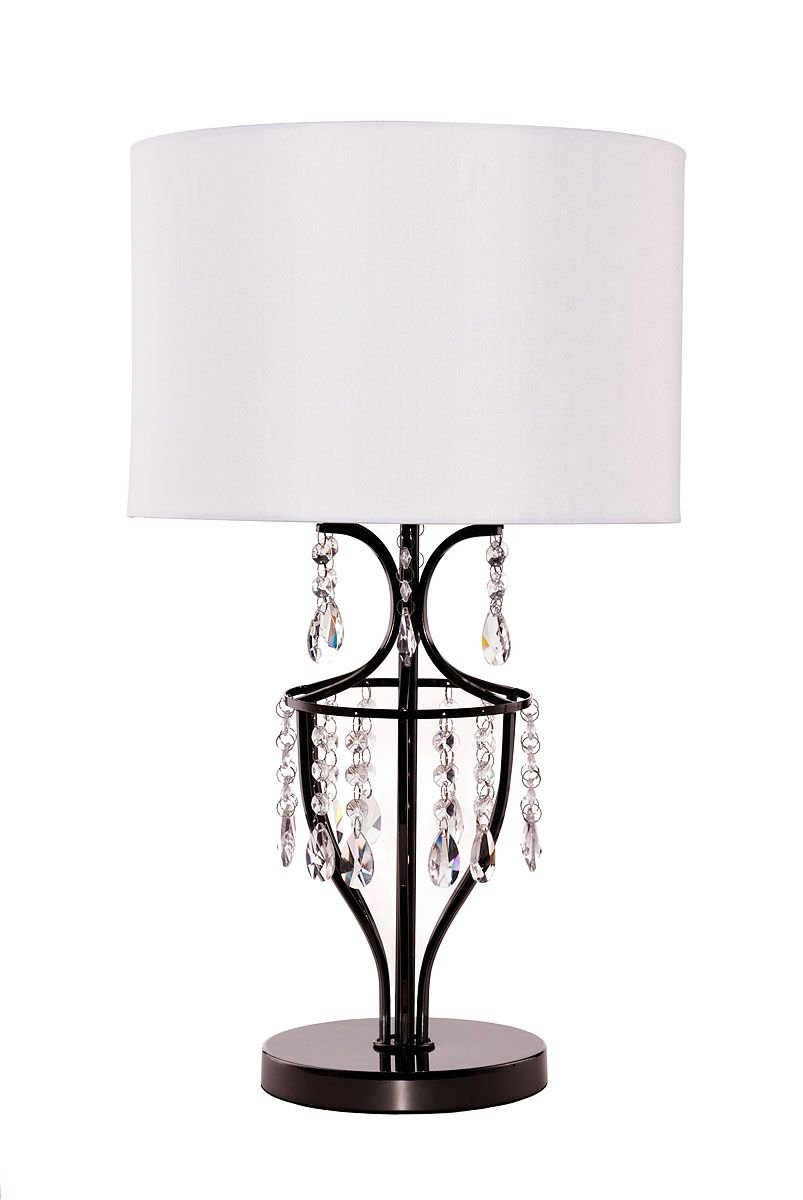 Elena Crystal Chrome Table Lamp with White Shade - Living Room, Dining Room , Bedroom Lamp by Dean