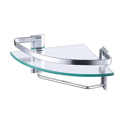Amazon.com: KES Aluminum Bathroom Glass Corner Shelf with Towel Bar ...
