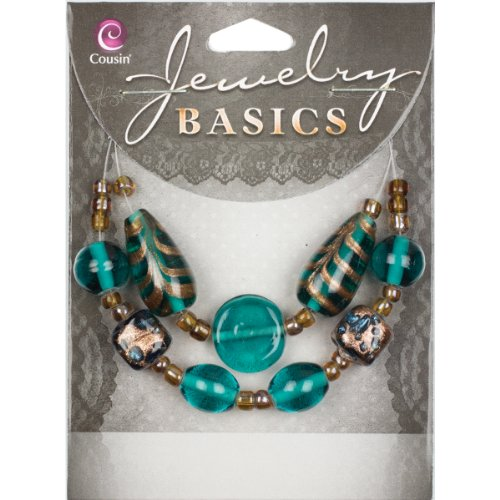 Cousin Jewelry Basics Glass Bead Mix, Teal and Gold Swirl, 9-Pack - 9k Solid Ring