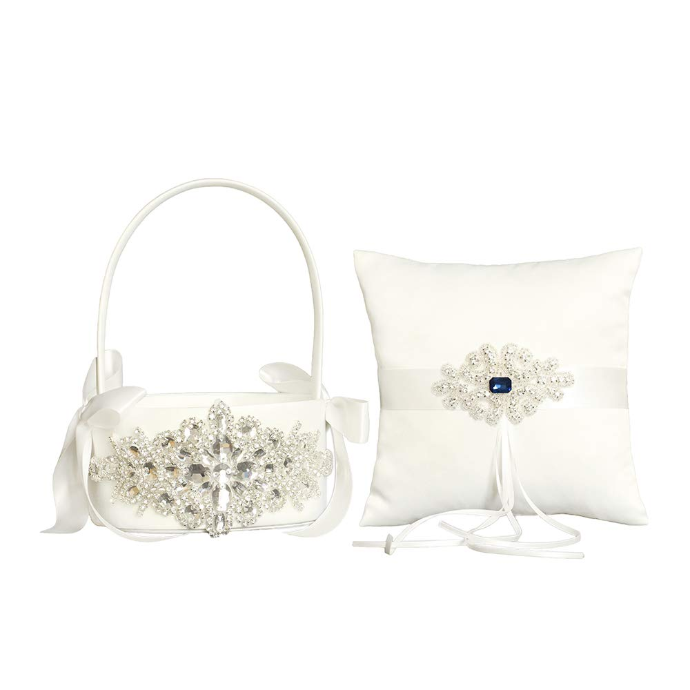 LAPUDA Beautiful Hand Beading of Wedding Flower Basket and Ring Pillow with Elegant Appearance and Ivory Color,Clusters of Stars Style (1 Basket and 1 Pillow)