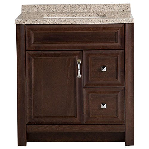 Glacier Bay Candlesby 30-1/2 in. W x 18-3/4 in. D Bath Vanity in Cognac with Solid Surface Vanity Top in Autumn