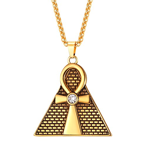 Inlaid Gold Plated Clasp (U7 Men's Necklace Religious Pyramid Ankh Cross Pendant Vintage 18K Gold Plated Rhinestone Inlaid Egyptian Jewelry (Chain 22 Inch))