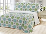 Dream Bedding Rich Printed Pinsonic Reversible 6 Pieces Quilt and Sheet Set, Queen Size, Green & Turquoise Circles with White Base Pattern