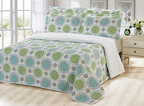 Dream Bedding Rich Printed Pinsonic Reversible 6 Pieces Quilt and Sheet Set, Queen Size, Green & Turquoise Circles with White Base Pattern by Dream Bedding