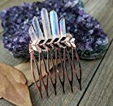 Boho Rose gold Aura Quartz hair comb rose gold hair jewelry summer hair pin slide comb summer hair jewelry