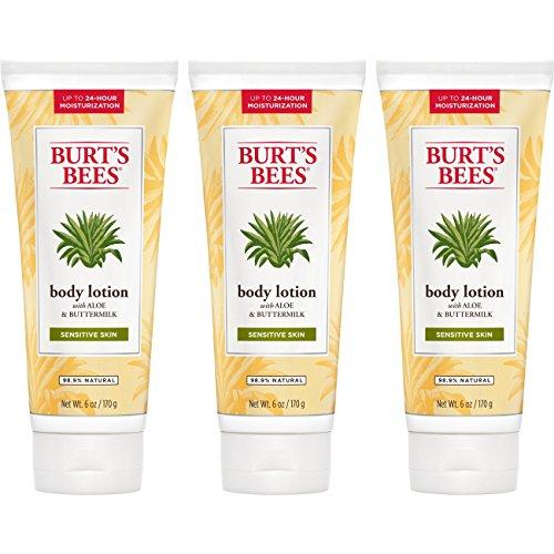 Aloe Body Milk - Burt's Bees Aloe and Buttermilk Body Lotion - 6 Ounce Bottle (Pack of 3)