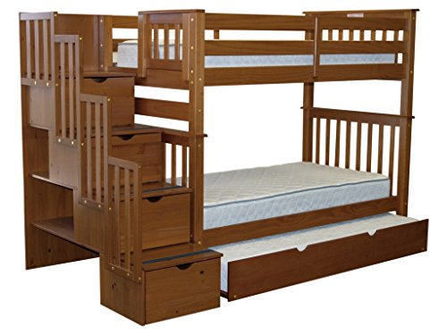 (Bedz King Tall Stairway Bunk Beds Twin over Twin with 4 Drawers in the Steps and a Twin Trundle, Espresso)