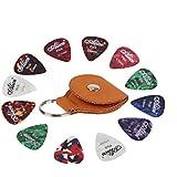 Rinastore 12 Pack Guitar Picks W/ Leather Keychain Pick Holder,Guitar Picks Includes Thin, Medium & Heavy Gauges (12 Pack Picks-Brown Holder)