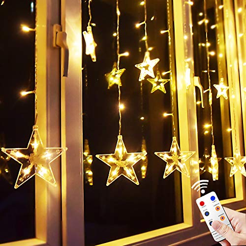 Star Curtain Lights, 6.7ft×3.3ft 138 LED Remote Window Curtain Lights Plug In Curtain String Lights with 12 Stars 8 Flashing Modes Decoration for Wedding, bedroom,Birthday (Warm White)