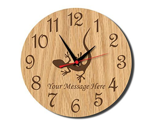 Lizard Rustic Wooden Wall Clock Decorative Vintage Silent Non-ticking Home Decor Personalized Wall Clock for Living Room Bedrooms Gifts Choice 12 (Lizard Clock)