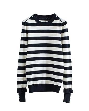 Schwarz weiß gestreiften Kapuzenpullover für Damen schwarz