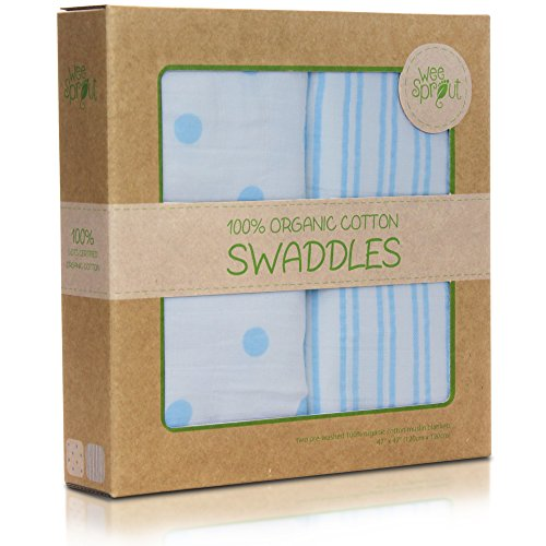 WeeSprout Organic 47 Inch Swaddle Blankets