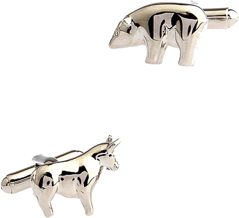 CIFIDET Gemelos Mancuernas para el Mercado de toros y el Mercado del Oso Camisa para Hombres de la Moda con la Caja de Regalo: Amazon.es: Joyería