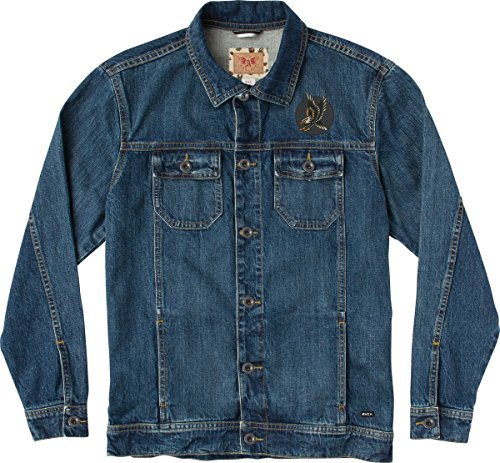 Rider Denim Jacket - RVCA Men's Riders Denim Jacket Archy Edition Junkyard Wash Small