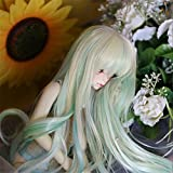 Tita-Doremi BJD Wig Ball-jointed Doll Dollfie For 1/4 7-8 Inch MSD MDD Minifee SD AOD DOD DZ LUTS Green Mix Wig Hair 1/4 7-8 inch 18-19cm(Wig Only, Not A Doll)