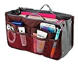 Lady-Women-Travel-Insert-Handbag-Organiser-Purse-Large-Liner-Organizer-Tidy-BagRed